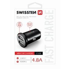 SWISSTEN CL ADAPTÉR 2x USB 4,8A METAL ČERNÝ