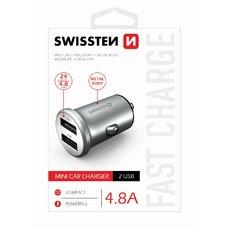 SWISSTEN CL ADAPTÉR 2x USB 4,8A METAL STŘÍBRNÝ