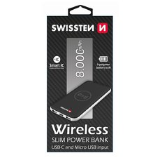 SWISSTEN WIRELESS SLIM POWER BANK 8000 mAh USB-C INPUT