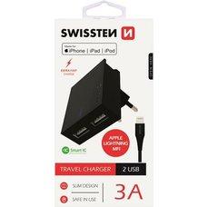 SWISSTEN nabíjecí sada 2x USB -EU adaptér a kabel MFi Lightning - černá; 22046000