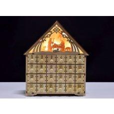 Dedra 30 cm Adventní kalendář dřevěný s LED osvětlením