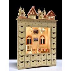 Dedra 52 cm Velký adventní dřevěný kalendář s LED osvětlením