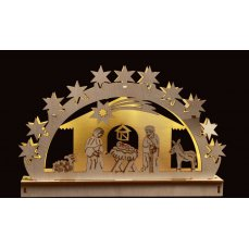 Dedra 28 cm Betlém s LED osvětlením, dřevěný