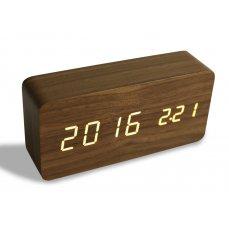 WOODOO CLOCK, digitální LED dřevěné hodiny, tmavé dřevo