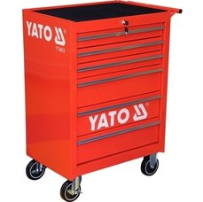 Pojízdná dílenská skříňka, 6 zásuvek, červená, YATO
