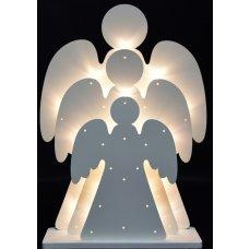 46 cm Tři andělé s LED osvětlením, dřevěná dekorace