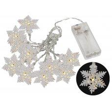 Platinium Světelný LED řetěz 10 diod, kovové vločky, 1,6 m, teplá bílá