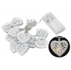 Platinium Světelný LED řetěz 10 diod, kovové srdce, 1,6 m, teplá bílá